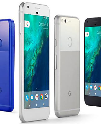 The new Pixel phone is available in two sizes and three colors.