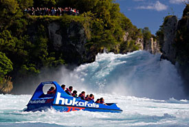 ... or if you'd prefer a more active water experience, race through the Huka River and to the base of its falls at up to 50 mph in a jet boat.