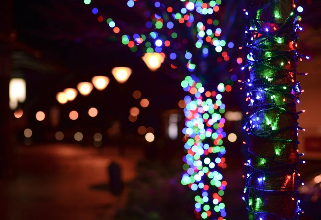 holiday lights in a small town