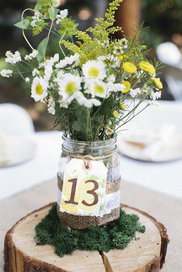 wedding jam jars table numbers