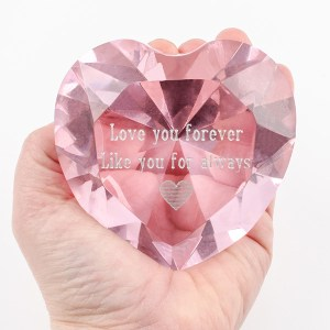 Pink Optic Crystal Heart with SILVER FILL