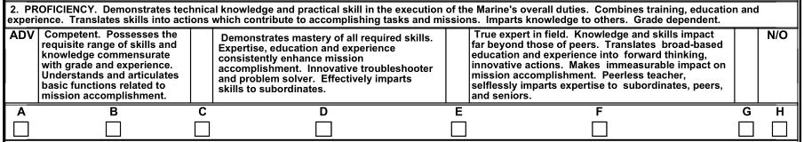 USMC Fitness Report (1610), NAVMC 10835 (REV. 7-11), Section D.2 Mission Accomplishment Proficiency