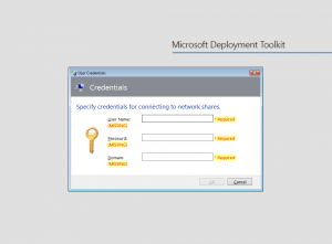 MDT User Credentials Wizard
