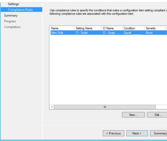 Use compliance rules to specify the condition that make a configuration item setting compliant