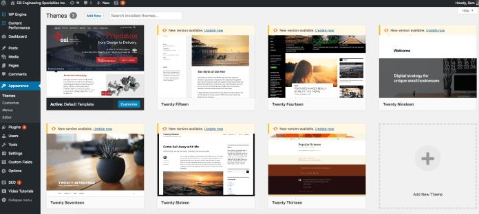 Customizable templates for WordPress