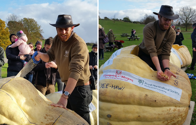 Matt Oliver scooping the pumpkin out & Matt and Paul Hansord scooping the bottom!