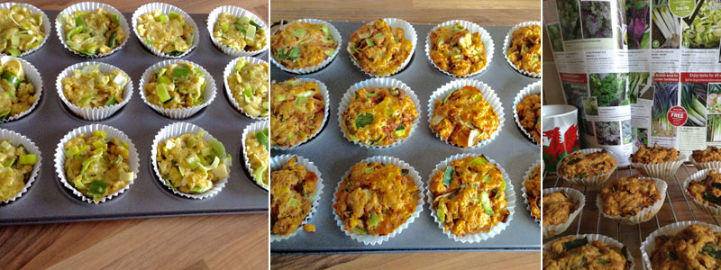 leek muffins - baked and cooling