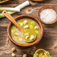 A leek and potato soup with croutons