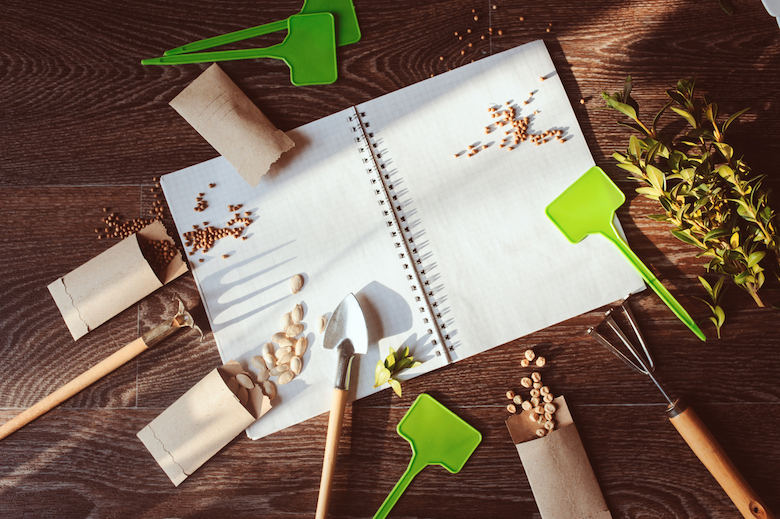 Notebook covered in seeds, trowels and other gardening equipment