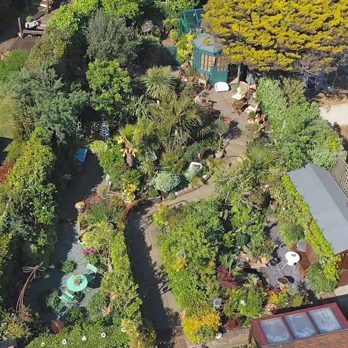 Arial footage of Driftwood Garden