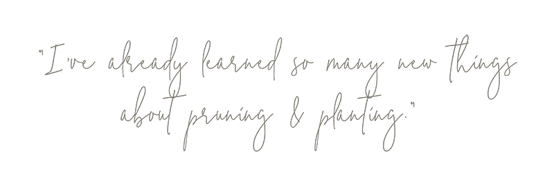 """""""I've already learned so many new things about pruning & planting."""" Quote from Those Plant Ladies at the Hickory House landscape installation."""