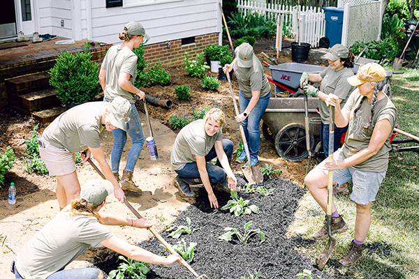 Those Plant Ladies installing hostas at The Hickory House.