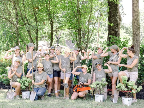 Those Plant Ladies installation crew at The Hickory House