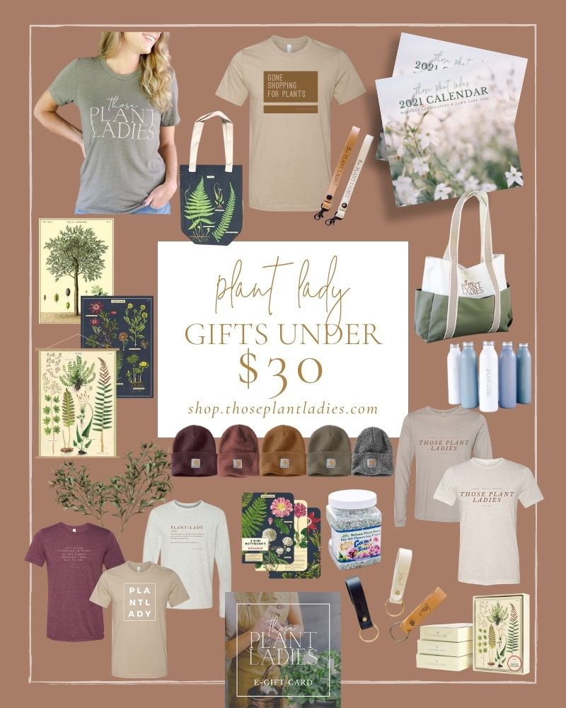Collage of plant lady gifts under $30 from Those Plant Ladies.
