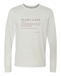 Oatmeal long sleeved tee with the definition of a plant lady from Those Plant Ladies.