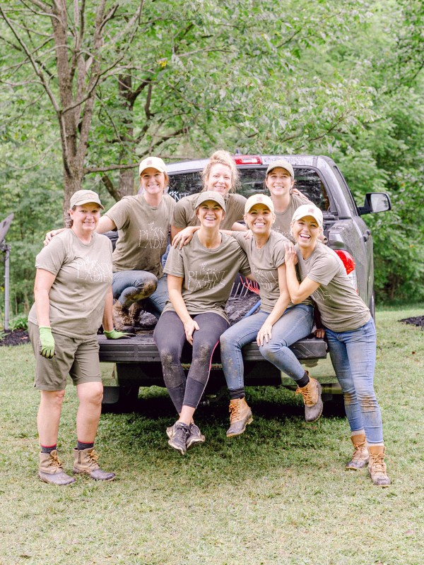 The crew of Those Plant Ladies at an installation in Taylorsville.