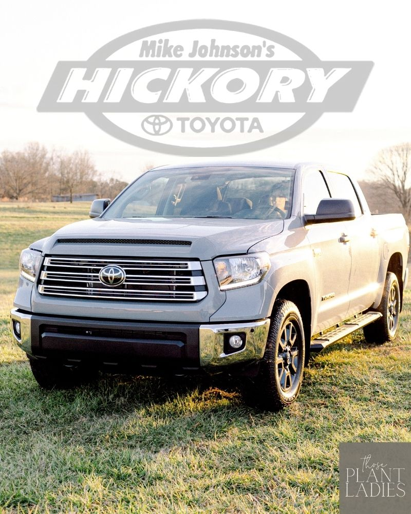 The Toyota Tundra for Those Plant Ladies, sponsored by Mike Johnson's Hickory Toyota.