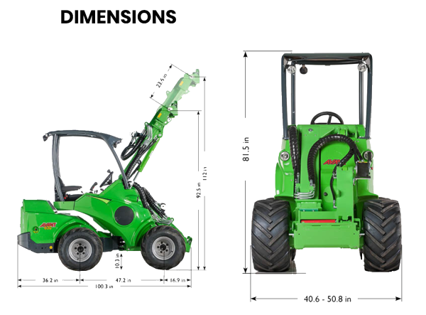 Dimensions of the Avant Loader 630.
