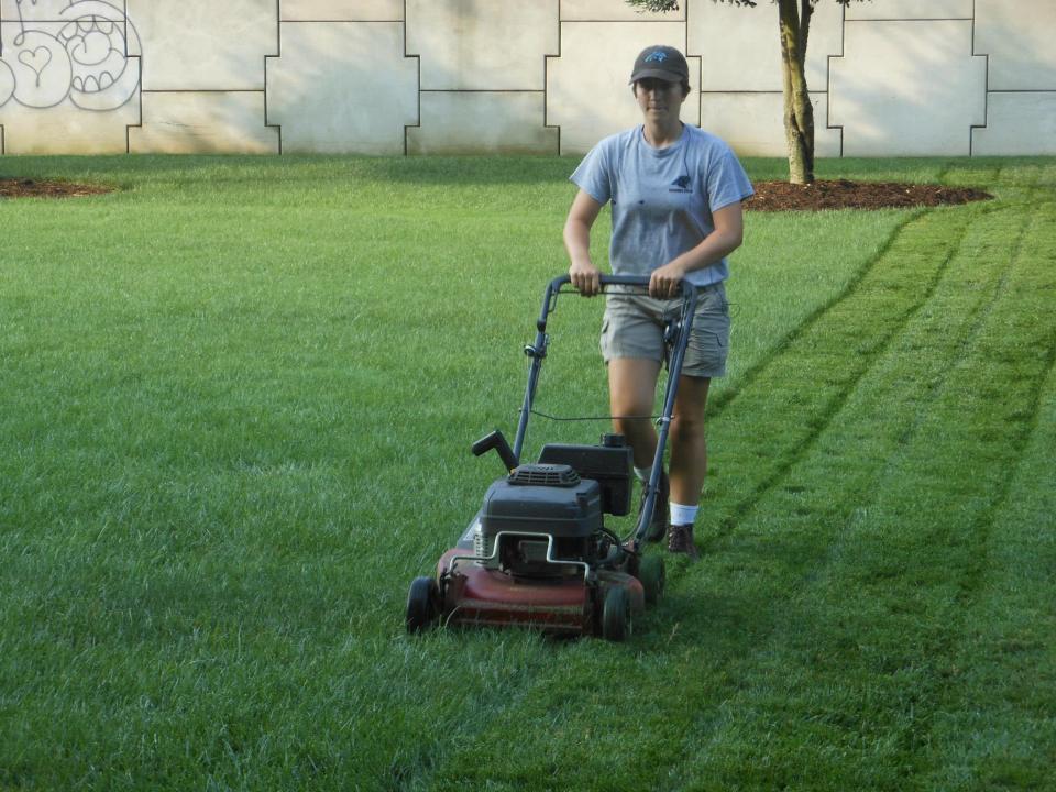 Alexa of Those Plant Ladies at her summer internship at the Carolina Panthers.