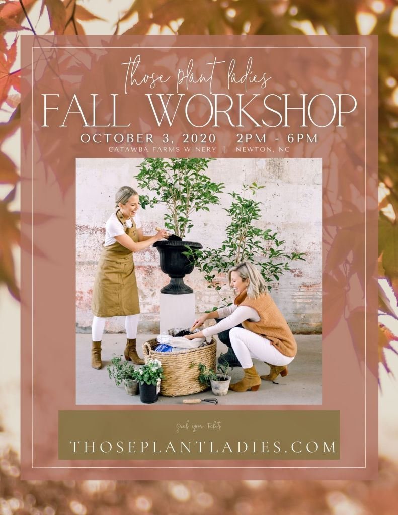The flyer for fall workshop put on by Those Plant Ladies
