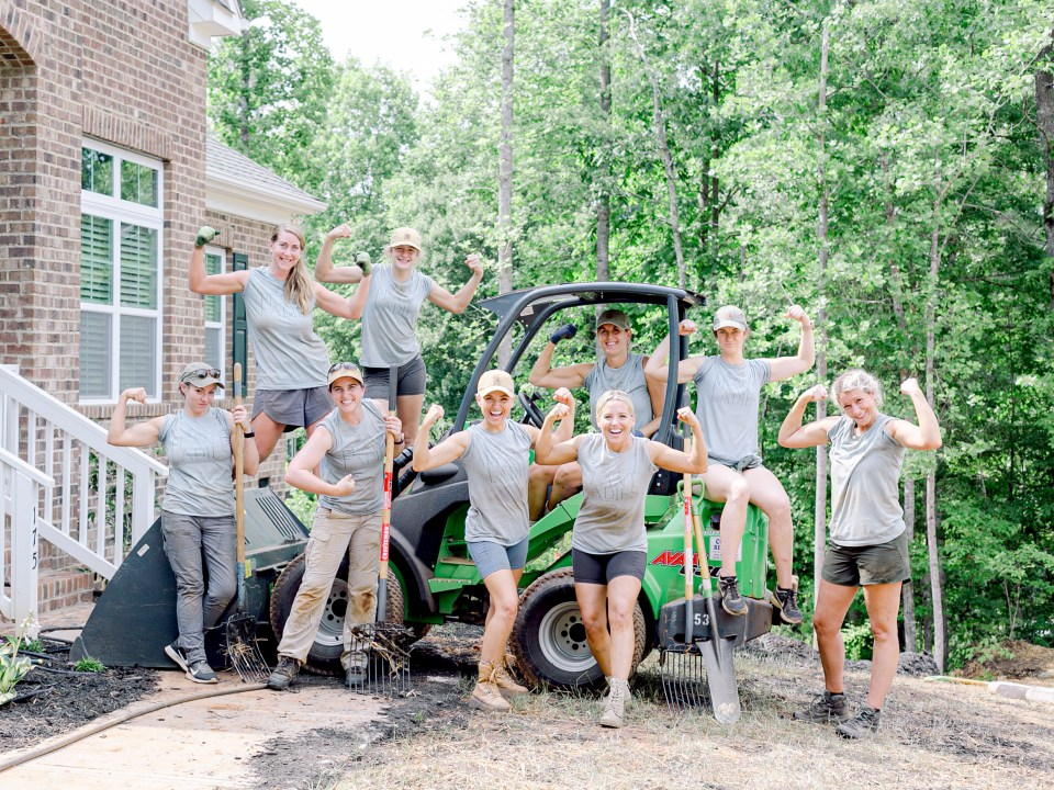 The crew of Those Plant Ladies at the landscape installation for The Blooming Estate.