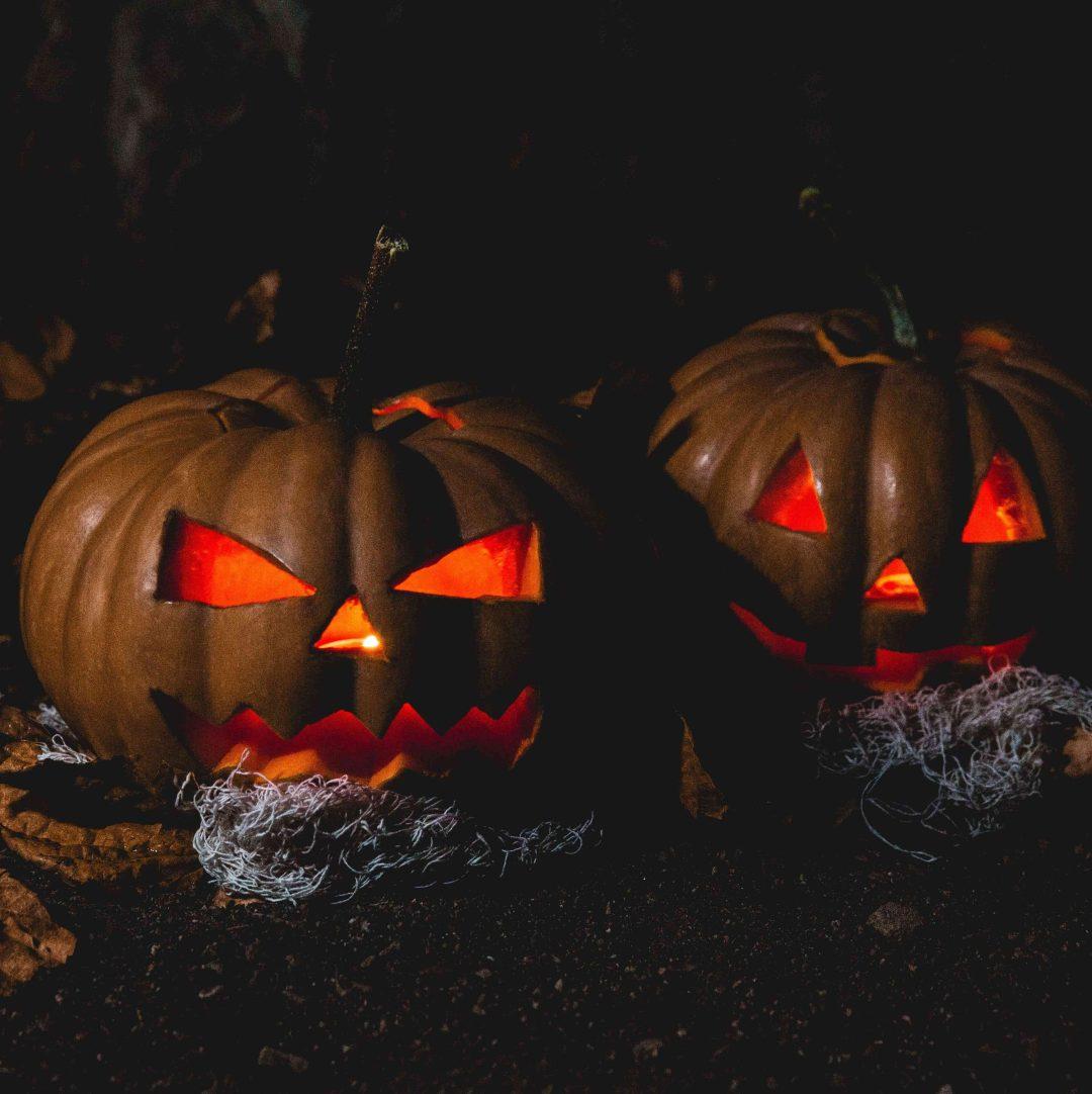 Two spooky pumpkins