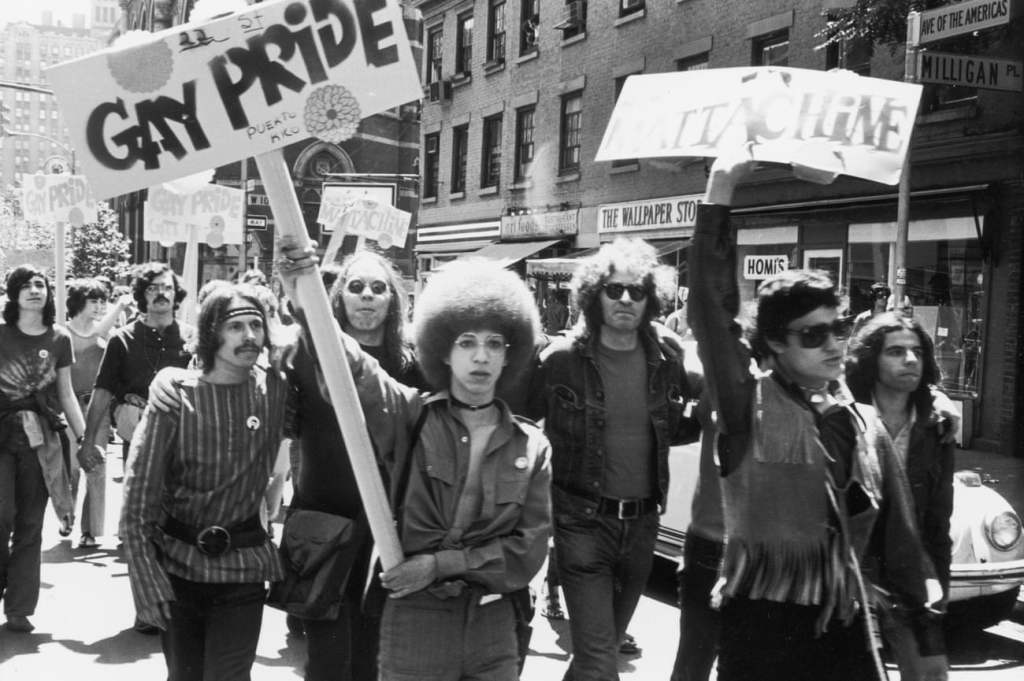 People taking part in the first Gay Pride march on the streets of New York