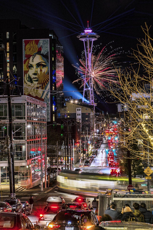 Seattle Welcomes the Year 2020: Space Needle & Thomas Street, South Lake Union neighborhood. (January 1, 2020).
