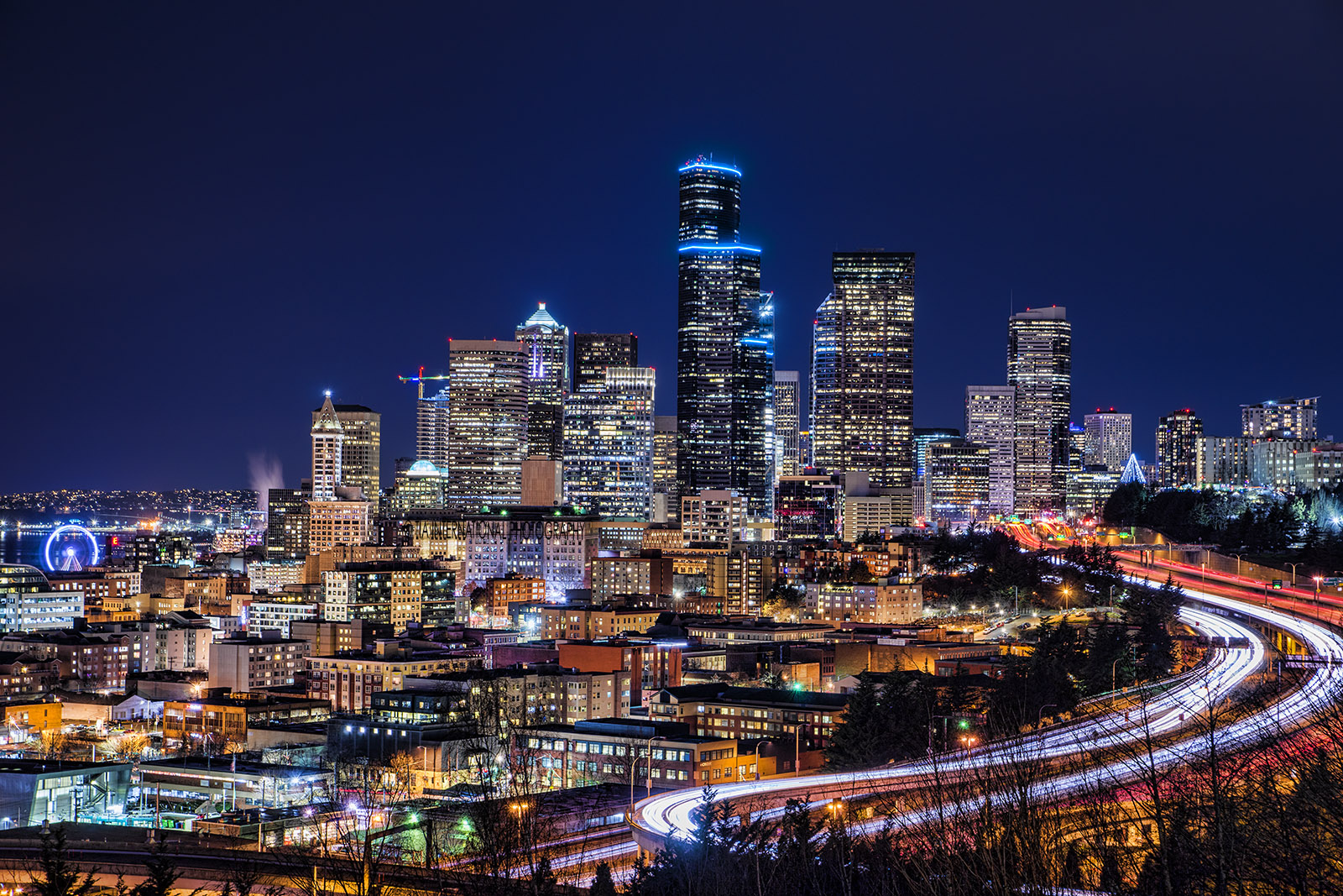 View from Dr. Jose Rizal Park -- Seattle Skyline (Night)