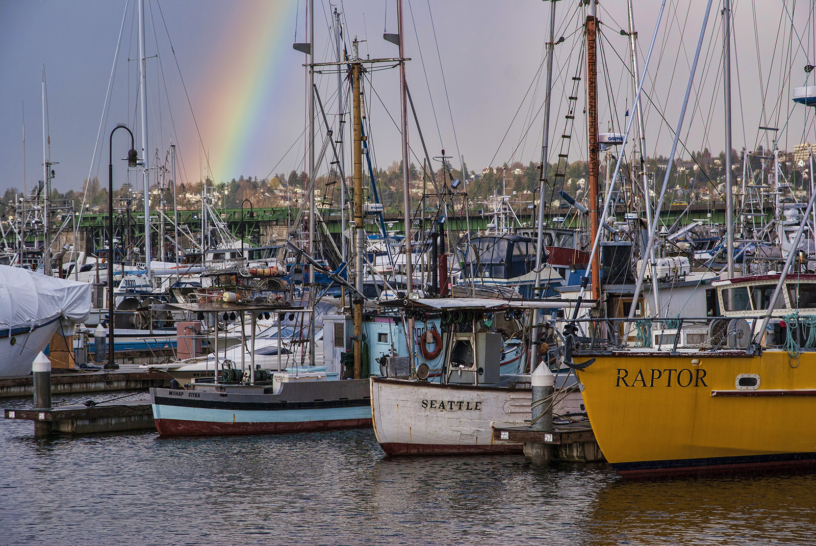 Fishermen's Terminal & Ballard Bridge, Seattle.