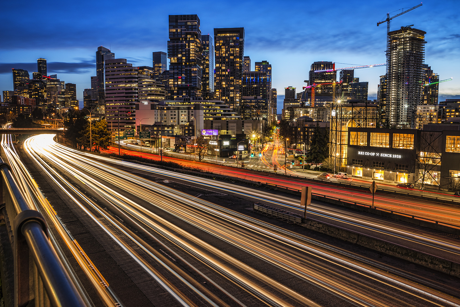 Interstate 5 and skyline of downtown Seattle during the evening blue hour. (December 26, 2020).