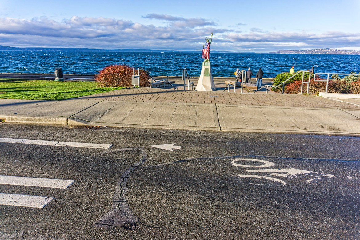 Statue of Liberty Plaza, Alki Beach, Seattle. (December 2020)