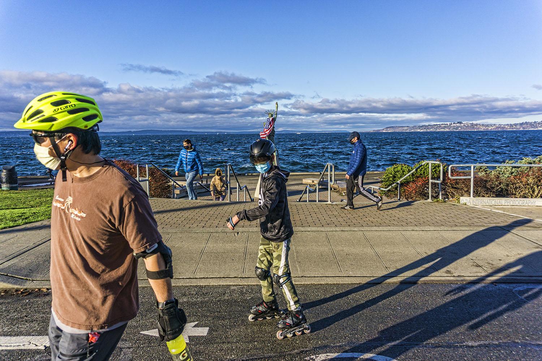 Statue of Liberty Plaza, Alki Beach, Seattle. (December 2020)