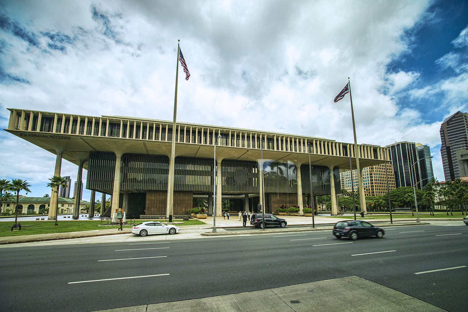 Hawaii State Capitol, Honolulu, Hawaii.