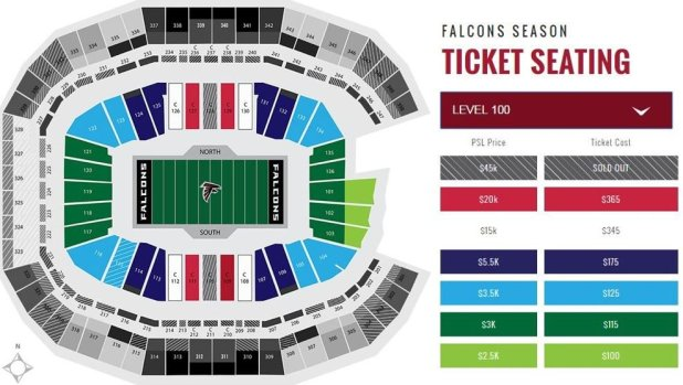 Georgia dome seating chart falcons for Mercedes benz dome atlanta seating chart