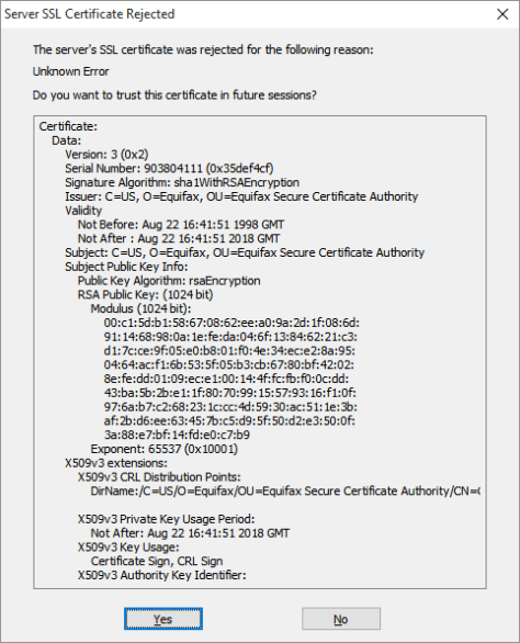 Server SSL Certificate Rejected