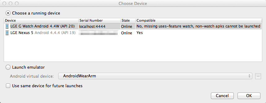 """Choose Device"" dialog"