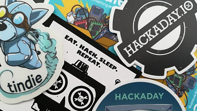 Tindie and Hackaday stickers