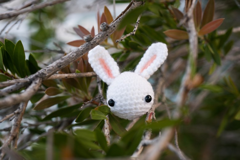 tiny rabbit hole - toki the bunny amigurumi pattern hiding in the trees