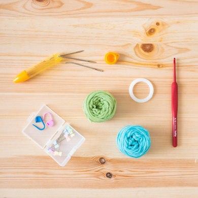 tiny rabbit hole crochet starter kit online workshop virtual amigurumi crochet bunny unicorn red tulip hook