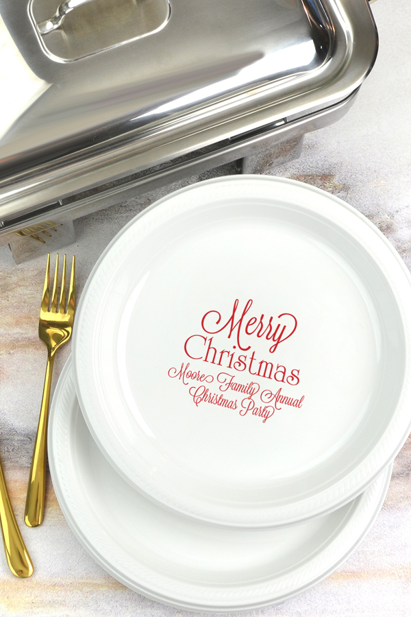 Holiday message personalized plastic plate