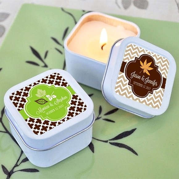 Personalized tin candles