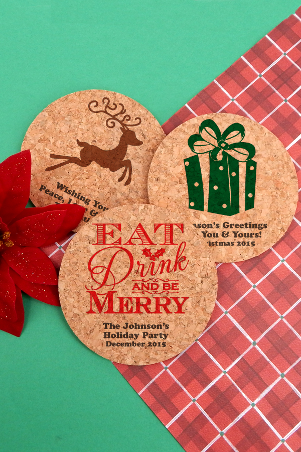 Personalized Christmas-themed drink coasters