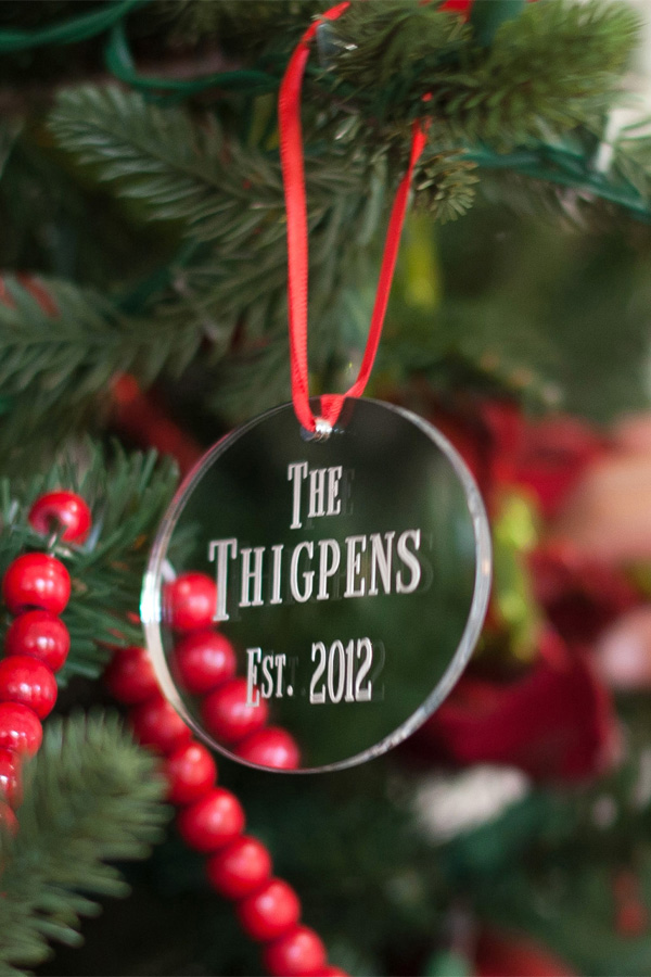 Personalized silver Christmas tree ornament