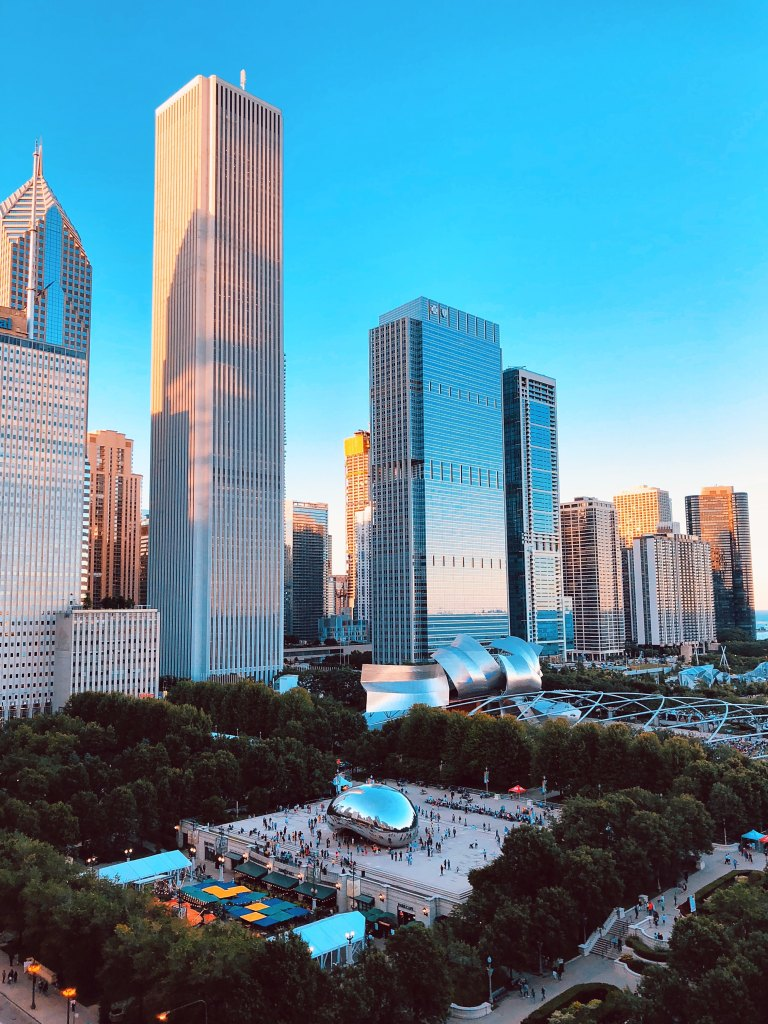 Chicago's Millennium Park with the city's skyline in the background