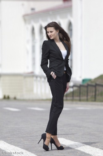 Create a sexy-smart look look with a trouser suit this January