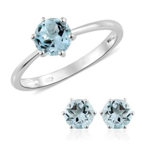 Sky Blue Topaz Solitaire Ring and Stud Earrings