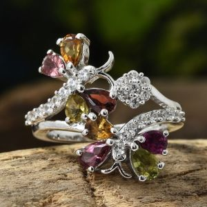 Butterfly Ring in Platinum Overlay Sterling Silver