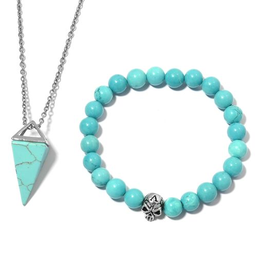 Magnasite Beads Skull Stretchable Bracelet and Pyramid Pendant With Chain