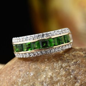 Russian Diopside Half-eternity Ring on TJC